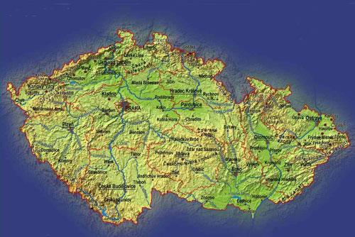 Новый атлас Чехии будет весить 10 килограммов. Карта Чехии. Изображение с сайта mapcards.net  19 ноября 2009