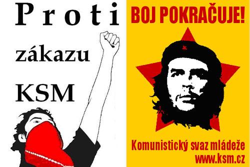Суд отменил вердикт о роспуске Коммунистического союза молодежи Чехии. Плакаты против запрета Коммунистического союза молодежи с сайта Ksm.cz  27 января 2010