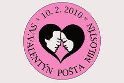 """В Чехии в седьмой раз открывается почта Святого Валентина.  Штемпель """"почты влюбленных"""" в Милостине.  28 января 2010"""