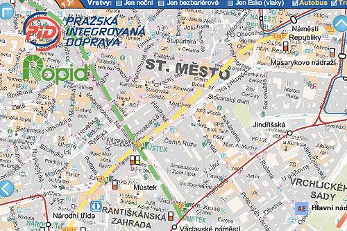 В Интернете появилась новая интерактивная карта транспорта Праги. Фрагмент новой интерактивной карты транспорта Праги  13 марта 2010