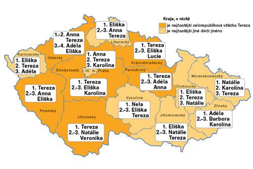 Детей в Чехии чаще всего называют Терезами и Янами. Наиболее популярные имена новорожденных девочек в разных регионах Чехии. Инфографика Чешского статистического управления  23 марта 2010