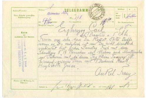 Чешская почта окончательно распрощается с телеграммами. Бланк исторической телеграммы эрцгерцога Франца Фердинанда  30 марта 2010