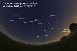 Сразу четыре планеты можно увидеть невооруженным глазом.  Так будут расположены планеты в начале апреля 2010 года.  30 марта 2010