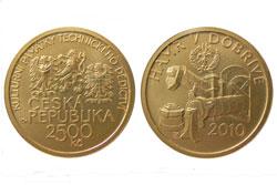 Чешский Национальный банк выпустил монету достоинством 2500 крон. Памятная золотая монета номиналом 2500 крон. Изображение Национального банка Чехии  5 мая 2010