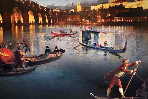 На Влтаве проходит фестиваль венецианских гондол. Фрагмент плаката к фестивалю гондол в Праге  14 мая 2010
