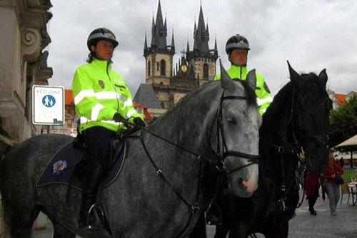 Летом Прагу будет патрулировать конная полиция. Конная полиция на Староместской площади в Праге  Фото: Portál hlavního města Prahy  31 мая 2010 года