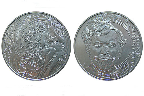 К 150-летнему юбилею Альфонса Мухи в Чехии выпускают серебряную монету. Новая монета, посвященная Альфонсу Мухе. Изображение с сайта Национального бнака Чехии  22 июня 2010