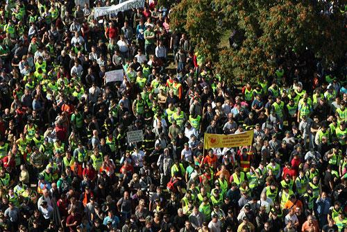 В Праге десятки демонстрантов ворвались в здание Министерства внутренних дел. Демонстранты на Летенском поле. Фото пресс-службы Министерства внутренних дел Чехии  21 сентября 2010