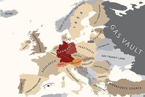 """Чехия попала на """"карту стереотипов"""" как страна Праги, пива, антиевропейцев и просто """"szex republic"""". Европа глазами Германии. Изображение из блога alphadesigner.com  22 сентября 2010 года"""