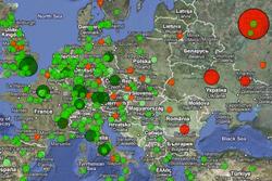 Прага оказалась одним их самых успешных научных городов Центральной и Восточной Европы. Карта цитируемости научных работ в области физики. Изображение с сайта leydesdorff.net/topcity/  22 марта 2011