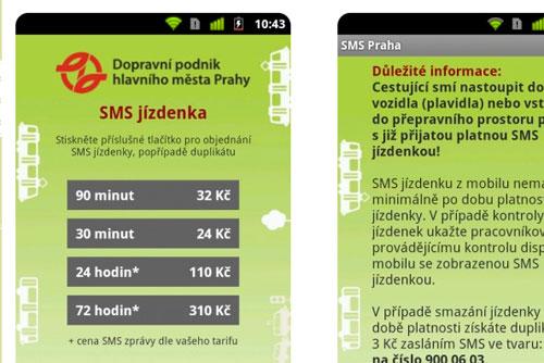 Все виды SMS-билетов на пражский транспорт можно купить через мобильные приложения. Скриншот приложения для покупки SMS-билетов  7 ноября 2011