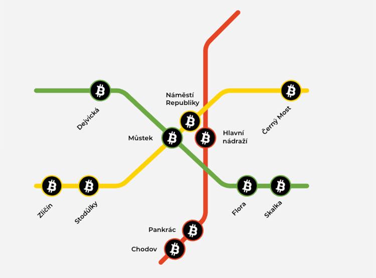 В пражском метро установили десять криптовалютных банкоматов. Карта расположения криптовалютных банкоматов в метро Праги. Изображение с сайта generalbytes.com  1 июня 2018 года