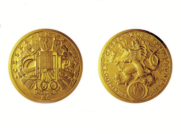 Столетие чехословацкой кроны отметят выпуском 130-килограммовой золотой монеты. Юбилейная монета номиналом 10 миллионов крон  Фото: Česká národní banka  7 ноября 2018 года