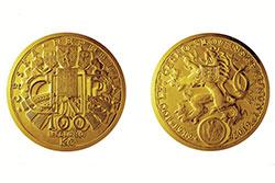 Столетие чехословацкой кроны отметят выпуском 130-килограммовой золотой монеты. Юбилейная монета номиналом 10 миллионов крон  Фото: Česká národní banka  7 ноября 2018