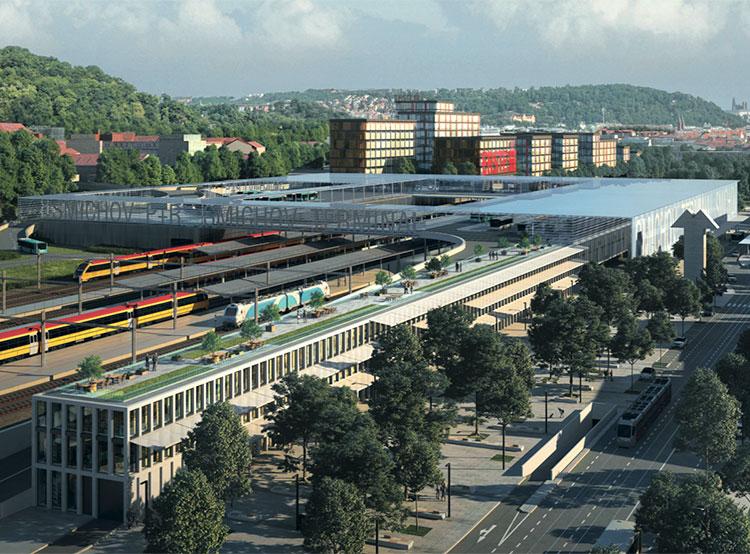 Смиховский вокзал в Праге ждут большие изменения. Визуализация обновленного Смиховского вокзала в Праге. Источник: презентация IPR  9 ноября 2018 года