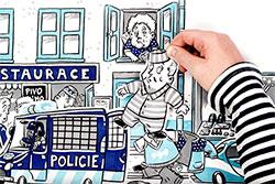 Чешское МВД открыло в Праге магазин с конфискованной электроникой. Конфискация имущества. Кадр из видео МВД Чехии  9 ноября 2018