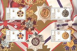 Чешская почта выпустила в честь юбилея Республики марки с орденами и медалями. Новая серия почтовых марок. Фото: Чешская почта  11 ноября 2018