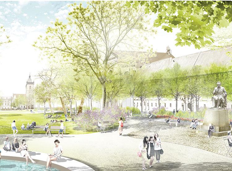 Власти Праги одобрили план реконструкции Карловой площади, представленный немецкой студией. Визуализация обновленной Карловой площади от студии Rehwaldt Landschaftsarchitekten  13 ноября 2018 года