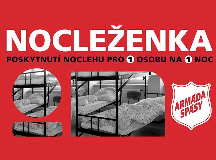 Чешская Армия спасения предлагает за 100 крон «ваучеры» на ночевку для бездомных. Изображение с сайте nocleženkа.cz  15 ноября 2018 года