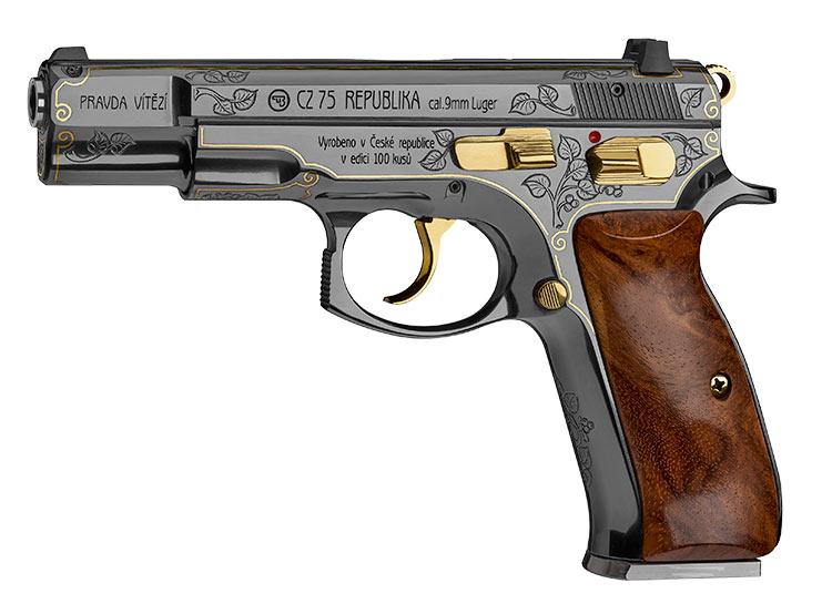Компания Česká zbrojovka к юбилею Республики выпустила 100 пистолетов по 200 тысяч крон каждый. Пистолет CZ 75 Republika. Фото Česká zbrojovka  16 ноября 2018 года