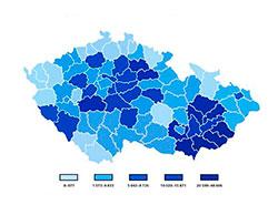 Жителей Чехии призывают искать возможное наследство в списке «бесхозной» недвижимости. Карта распределения «бесхозных» объектов. Изображение ÚZSVM  22 ноября 2018