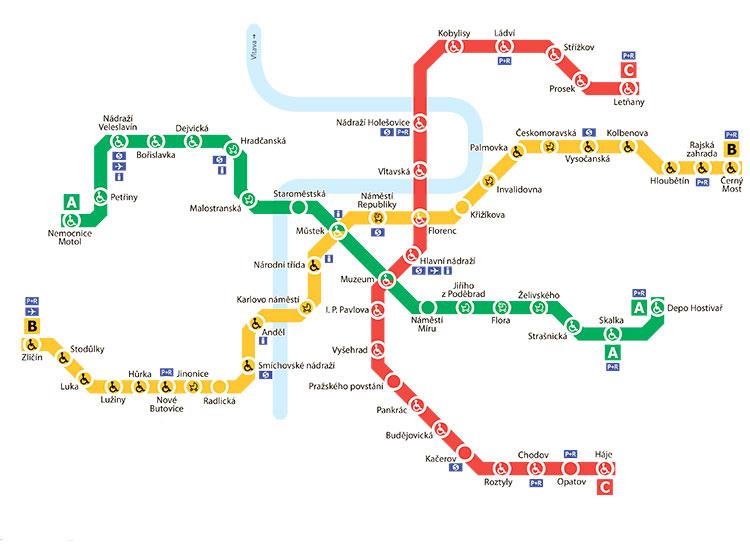 Как будет работать пражский транспорт накануне Рождества. Схема пражского метро  30 ноября 2018 года
