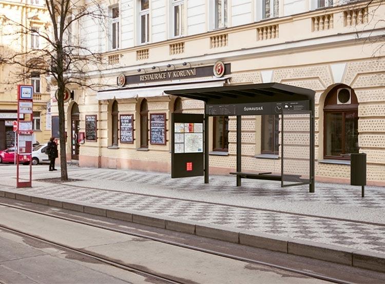 Представлен новый дизайн остановок общественного транспорта в Праге. Фото. Новый дизайн пражских остановок. Изображение Institut plánování a rozvoje hl. m. Prahy (IPR)  30 ноября 2018