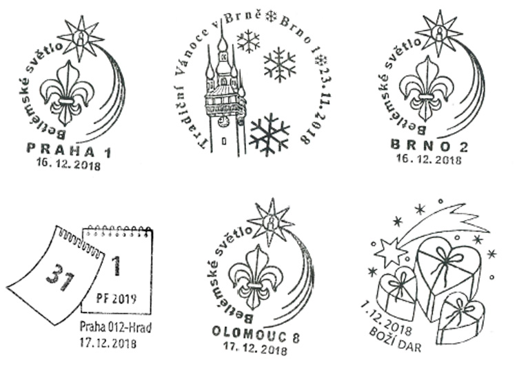 В Чехии можно поздравить с Рождеством через «почту младенца Иисуса». Праздничные штемпели Чешской почты. Источник: ceskaposta.cz  1 декабря 2018 года