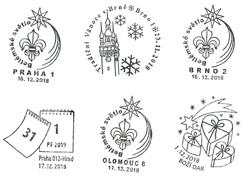 В Чехии можно поздравить с Рождеством через «почту младенца Иисуса». Праздничные штемпели Чешской почты. Источник: ceskaposta.cz  1 декабря 2018