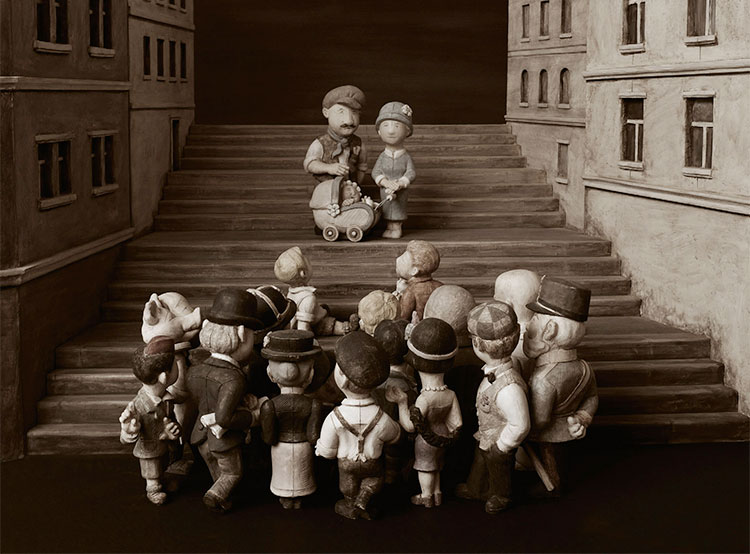 Уникальный вертеп в стиле старого фото рассказывает о пражском районе Жижков. Жижковский вертеп. Фото информационного центра Праги 3  3 декабря 2018 года
