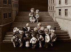Уникальный вертеп в стиле старого фото рассказывает о пражском районе Жижков.  Жижковский вертеп. Фото информационного центра Праги 3.  3 декабря 2018