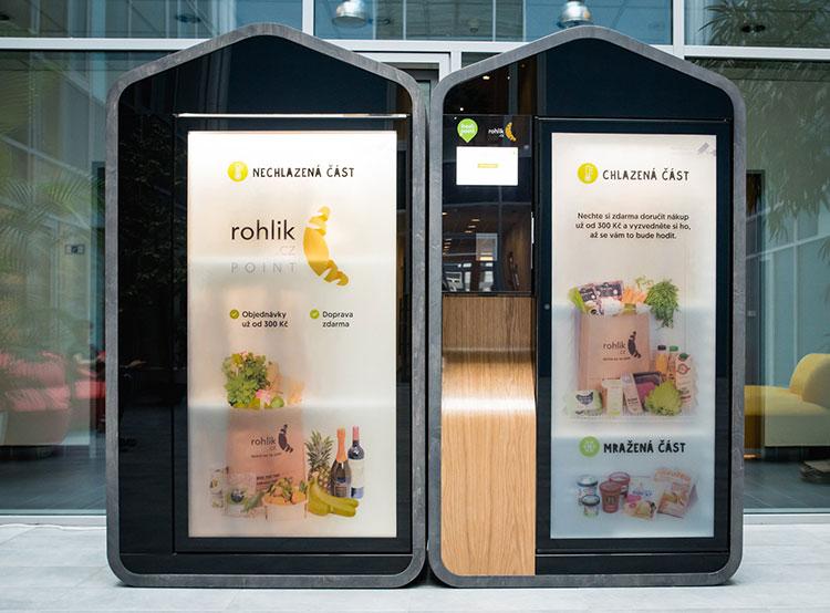 Онлайн-супермаркет Rohlik.cz впервые закроет год с прибылью. Автомат Rohlik Point. Фото Rohlik.cz  21 декабря 2018 года