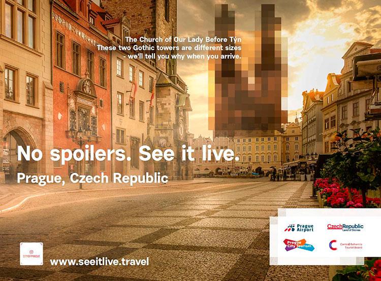 Прагу в Нью-Йорке рекламируют «пропавшие» достопримечательности. Фото. Один из плакатов рекламной кампании в Нью-Йорке  Фото: Аэропорт Вацлава Гавела  29 декабря 2018 года