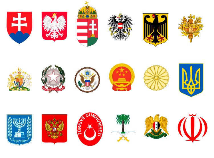 Чехи оценили взаимоотношения своей страны с другими государствами. Официальные и неофициальные гербы государств, упомянутых в опросе  Фото: коллаж Utro.cz  9 января 2019 года