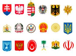 Чехи оценили взаимоотношения своей страны с другими государствами. Официальные и неофициальные гербы государств, упомянутых в опросе  Фото: коллаж Utro.cz  9 января 2019