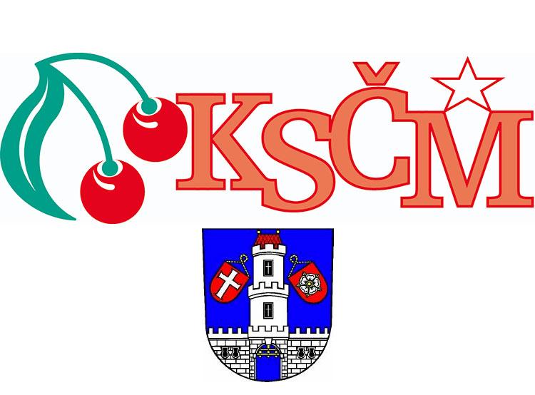 Из районного штаба чешских коммунистов пропали 30 тысяч крон и служебная машина. Логотип коммунистической партии Чехии и герб города Страконице  18 января 2019 года
