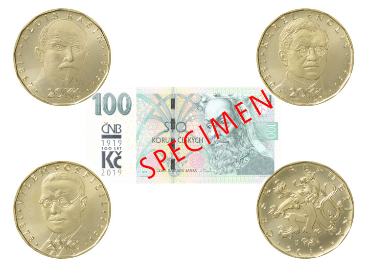 Чехия отметит 100-летие кроны выставкой на Пражском граде и юбилейными монетами. Монеты и банкнота к 100-летнему юбилею кроны. Фото ČNB  21 января 2019