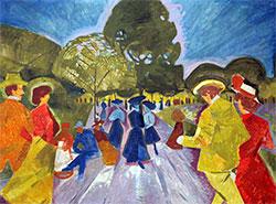 В честь погибшего мэра Гданьска назовут променад в пражском парке.  Картина Богумила Кубишты «Променад в Ригровых садах» (1908).  14 марта 2019