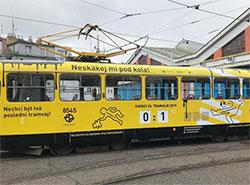 «Страшный» трамвай напомнит жителям Праги о соблюдении ПДД.  Трамвай, запущенный на маршрут в рамках информационной кампании. Фото пресс-службы DPP.  27 марта 2019