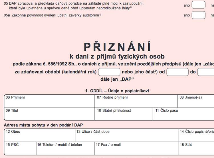 Жители Чехии подали более 2 миллионов налоговых деклараций. Фрагмент бланка налоговой декларации  2 апреля 2019 года