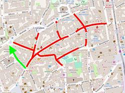 В оставшиеся выходные на улицы в центре Праги нельзя будет въехать по ночам. Карта ограничений в районе улицы Длоуга. Изображение с сайта Праги 1 (www.praha1.cz)  12 апреля 2019