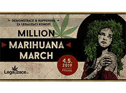 В Праге пройдет масштабная акция за легализацию марихуаны.  Плакат Million Marihuana March 2019. Изображение с сайта legalizace.cz.  28 апреля 2019