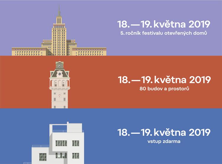 Пражские архитектурные объекты в пятый раз распахнут свои двери для посетителей. Банеры фестиваля Open House Praha (openhousepraha.cz)  11 мая 2019 года