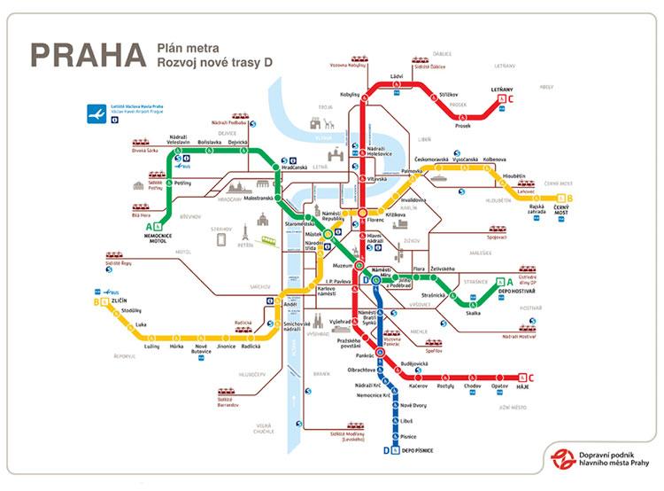 Строительство «синей» ветки пражского метро начнется в июне. Карта метро Праги с новой ветки. Инфографика dpp.cz из презентации  20 мая 2019