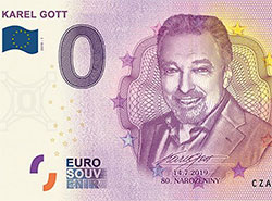 «Евробанкноты» в честь 80-летнего юбилея Карела Готта распродали за четыре часа.  Фрагмент сувенирной банкноты в честь 80-летия Карела Готта.  14 июля 2019