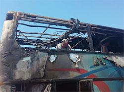 В Италии сгорел автобус, перевозивший более 50 туристов из Чехии.  Фото, сделанное одним из пассажиров автобуса.  27 июля 2019